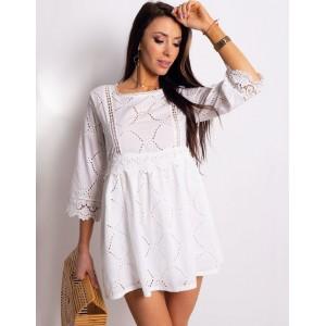 Dámské bavlněné mini šaty bílé