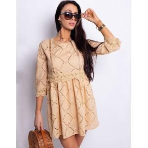 Světlehnědé mini šaty dámské bavlněné