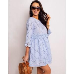 Dámské bavlněné mini šaty světle modré s 3/4 rukávy