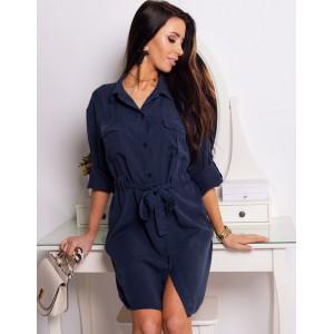 Košilové dámské tmavomodré šaty s páskem