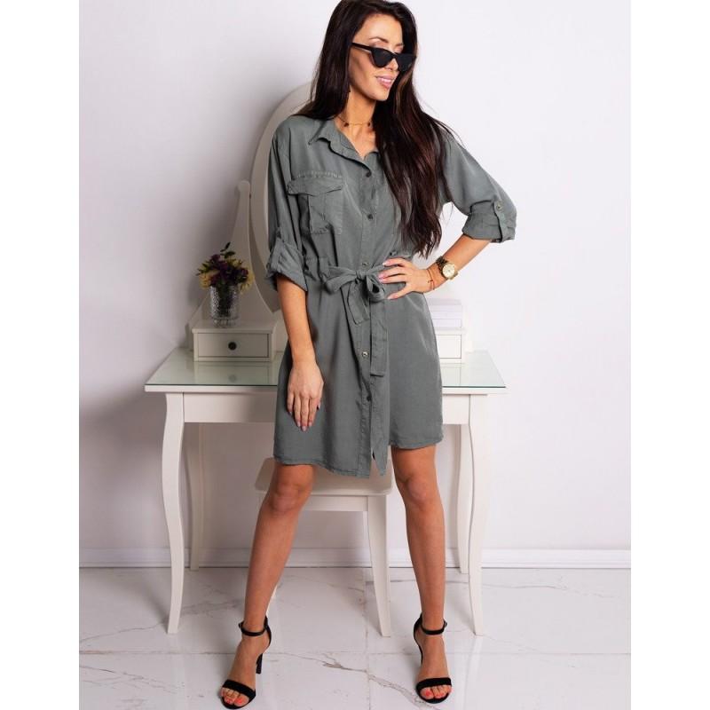 bbe68374c445 Volné šedé dámské košilové šaty se stahovacím páskem
