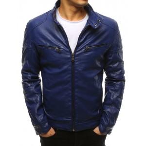 Stylová modrá pánská kožená bunda s módním motorkářským designem