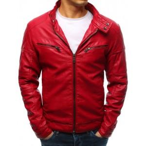 Originální červená pánská kožená bunda se zipy a stojáčkem