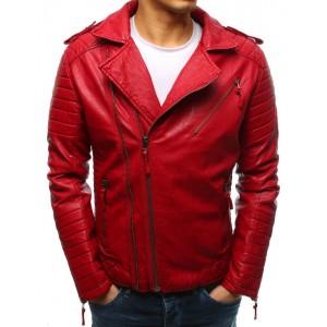Stylová pánská přechodná červená kožená bunda se stříbrnými zipy