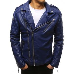Pánská kožená motorkářská bunda modrá barvě se stříbrnými zipy