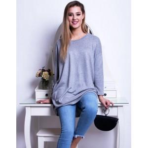 Originální dámský dlouhý svetr módního volného střihu v šedé barvě