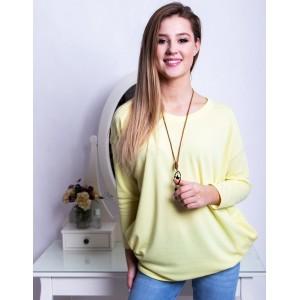 Pohodlný dámský oversize svetr v pastelově žluté barvě