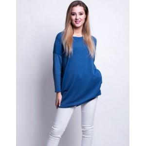 Dámský modrý oversize pulovr s dlouhým rukávem