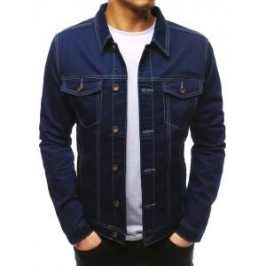 Pánská jednobarevná jeansová bunda s knoflíky