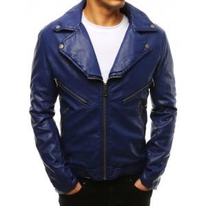 Pánská modrá kožená bunda s výrazným límcem