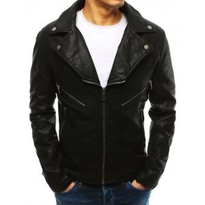 Stylová černá pánská kožená bunda s dominantním límcem