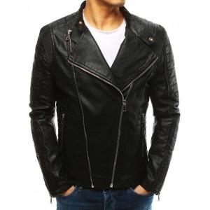 Černá moderní kožená bunda pro muže se zipy