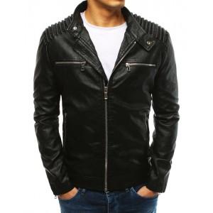 Pánská černá koženková bunda s ozdobným vzorem na plecích