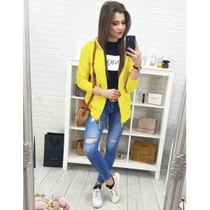 Trendy oboustranná dámská jarní bunda s kapucí v neonově žluté barvě