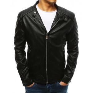 Černá pánská kožená bunda s 2 vnějšími kapsami