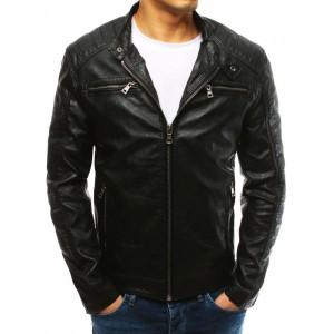 Černá koženková bunda pánská na zip