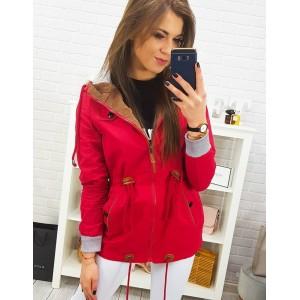 Červená moderní dámská jarní bunda s kapucí