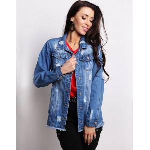 Dámská prodloužená jeansová bunda v modré barvě