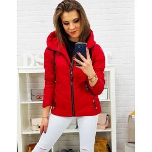Originální dámská červená přechodná bunda s kapucí v trendy designu