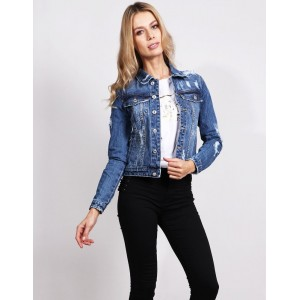 Moderní dámská tmavě modrá krátká džínsová bunda s dírami