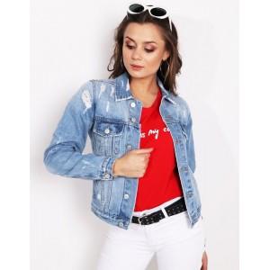 Moderní dámská světle modrá krátká riflová bunda s dírami