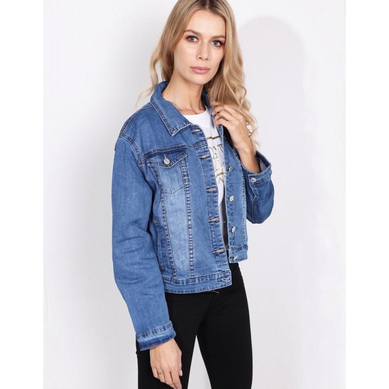e6366f47406f Klasická dámská světle modrá krátká riflová bunda na volný den