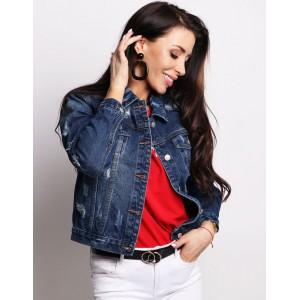 Moderní tmavě modrá krátká džínová bunda pro dámy