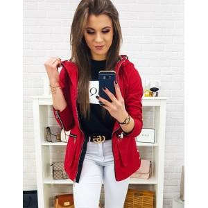 Designová dámská červená jarní bunda s kapucí