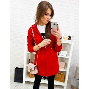 Červená dámská lehká přechodná dámská bunda s kapucí
