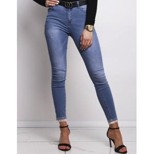 Dámské moderní džíny v modré barvě úzké