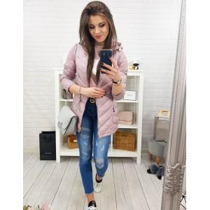 Růžová dámská přechodná bunda s kapucí