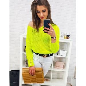 Moderní dámský neonový žlutý svetr oversize s knoflíky na rukávech