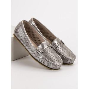 Šedě stříbrné dámské mokasíny se sponou originálního designu