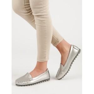 Trendy dámské stříbrné mokasínky originálního vzhledu