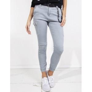 Sportovní dámské šedé džíny s bočními kapsami zakončené gumkou