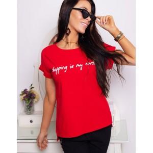 Dámské triko s krátkým rukávem v červené barvě