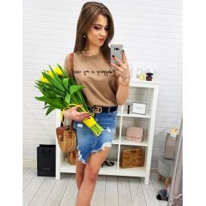Hnědé tričko s krátkým rukávem pro dámy