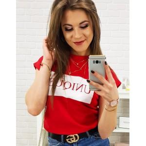 Dámské triko s potiskem v červené barvě