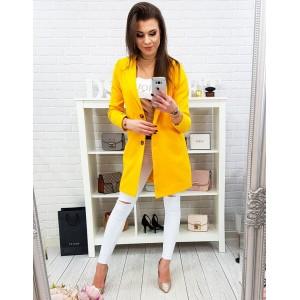 Moderní neonově žlutý dámský kabát se zapínáním na knoflíky a kapsami