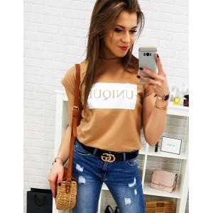 Krátké oranžové dámské tričko s nápisem