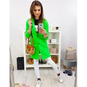 Stylový dámský jarní kabát v trendy neonově zelené barvě oversize střihu