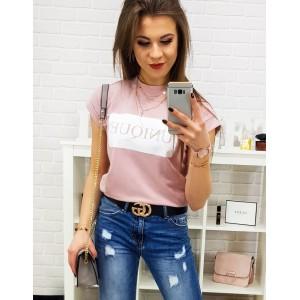 Moderní dámské tričko s potiskem v růžové barvě