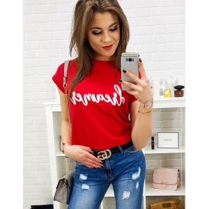 Tričko v červené barvě pro dámy s krátkým rukávem
