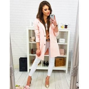 Romantický pastelově růžový dámský kabát rozšířeného střihu na knoflíky