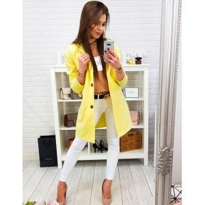Krásný dámský žlutý jarní kabát oversize střihu se zapínáním na knoflíky