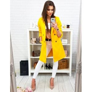 Trendy neonově žlutý dámský kabát s dvouřadým zapínáním na knoflíky
