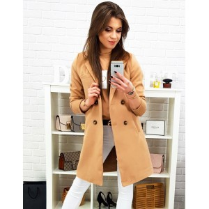 Karamelově hnědý dámský jarní kabát s dvouřadým zapínáním