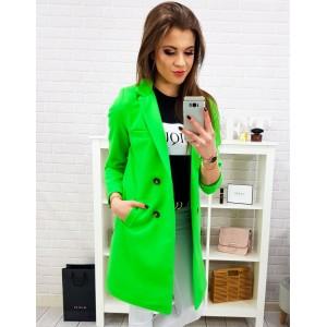 Originální dámský neonově zelený jarní kabát rovného střihu na knoflíky