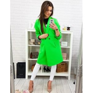 Moderní dámský jarní kabát áčkového střihu v neonově zelené barvě