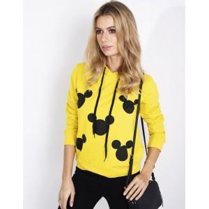 Žlutá dámská mikina s kapucí s motivem mickey mouse